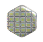 Glass Peacock Beads Hexagon 17mm.Medium Grey Matte Vitrail image