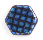 Glass Peacock Beads Hexagon 17mm Black Azuro image