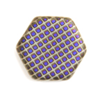 Glass Peacock Beads Hexagon 17mm Grey Azuro Matte image
