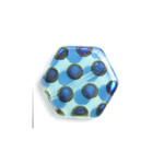 Glass Peacock Beads Hexagon 17mm Blue Opal Azuro image