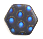 Glass Peacock Beads Hexagon 17mm Dark Blue Azuro Matte image