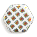 Glass Peacock Beads Hexagon 17mm White Marea image