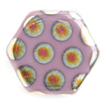 Glass Peacock Beads Hexagon 17mm Violet Marea image