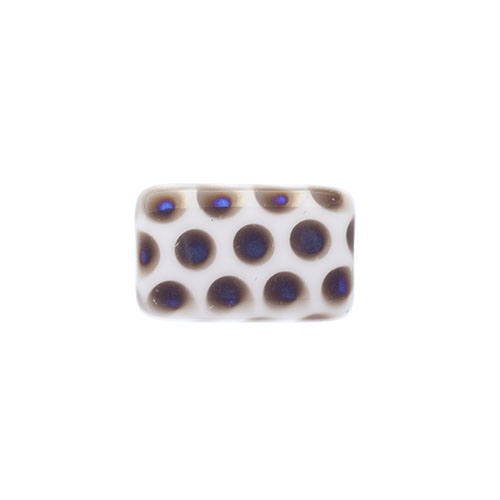 Glass Peacock Beads Rectangle 19x12mm White Azuro image