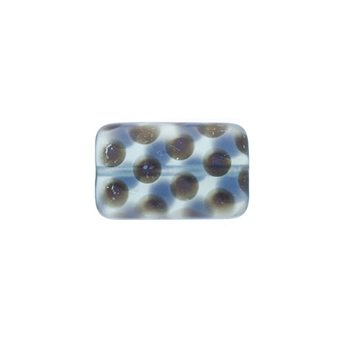 Glass Peacock Beads Rectangle 19x12mm Grey Azuro Matte image