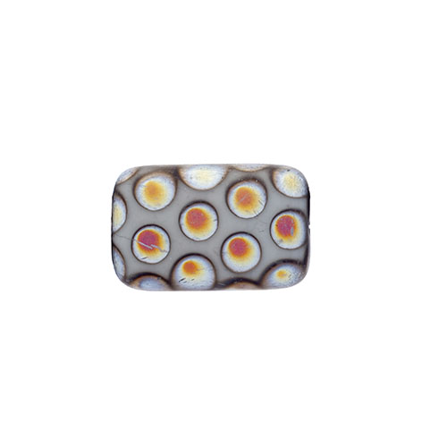 Glass Peacock Beads Rectangle 19x12mm Grey Marea Matte image