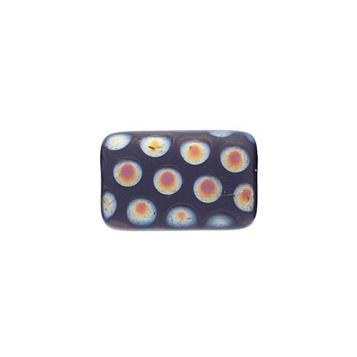 Glass Peacock Beads Rectangle 19x12mm Dark Blue Marea Matte image