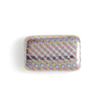 Glass Peacock Beads Rectangle 19x12mm White Vitrail Medium image