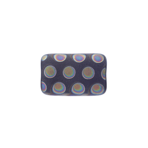 Glass Peacock Beads Rectangle 19x12mm Dark Blue Vitrail Med Matte image