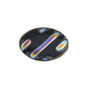 Glass Peacock Bead Flat Oval 20x14mmOp.Black Vitrail Chrome image