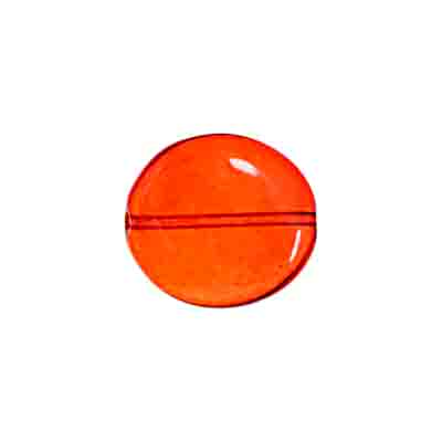 GLASS BEAD FLAT 15/14MM ORANGE STRUNG  WAVY OVAL image