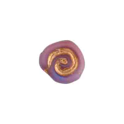 GLASS BEAD SWIRL PURP.BLU/GOLD STRUNG 12X11MM image