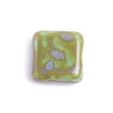 GLASS BEAD SQUARES 9mm STRUNG GREEN/TURQUOISE MARBLE image