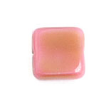 GLASS BEAD SQUARES 9mm STRUNG ROSE/OLIVE STRIPED image