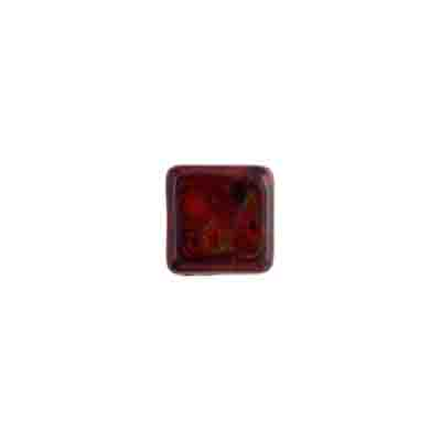 GLASS BEAD SQUARES 8mm STRUNG OP.RED MARBLE image