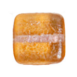 GLASS BEAD SQUARES 8mm STRUNG TWO-TONE SUGAR APRICOT image