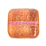 GLASS BEAD SQUARES 8mm STRUNG TWO-TONE SUGAR ORANGE/RED image