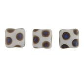 Glass Peacock Beads Square 8mm White Azuro Matte image