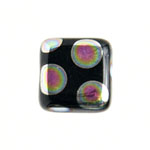 Glass Peacock Beads Square 8mm Black Vitrail Medium image