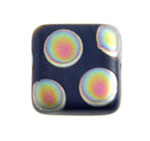 Glass Peacock Beads Square 8mm Dark Blue Vitrail Med Matte image