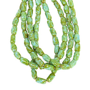 GLASS BEAD 9x6mm TWISTED RECT. BLUE/GREEN MARBLE STRUNG image