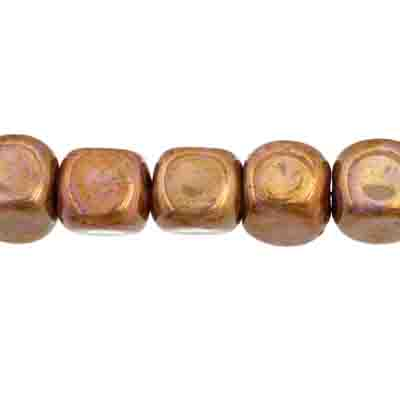 GLASS BEAD 7x8mm CUBE BROWN MARBLE STRUNG image