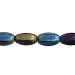 GLASS BEAD 9x6mm OVAL STRUNG OP.GREEN IRIS image