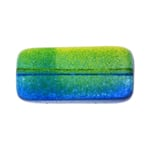GLASS LONG RECTANGLE BEAD STRG 24x15mm BLUE/GREEN/YELLOW image