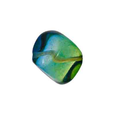 GLASS DIMPLED CUBE 16mm BEAD STRUNG BLUE/GREEN/YELLOW image