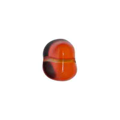 GLASS FANCY BEAD 10x13mm STRUNG ORANGE/YELLOW/PINK image
