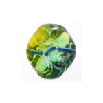 GLASS BEAD FANCY 15x16mm STRUNG BLUE/GREEN/YELLOW image