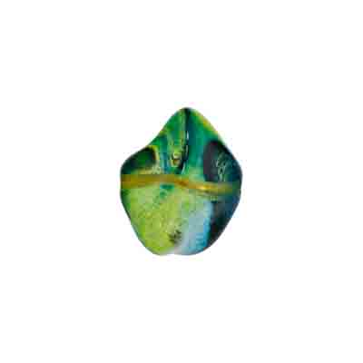 GLASS BEAD FANCY 11x15mm STRUNG BLUE/GREEN/YELLOW image