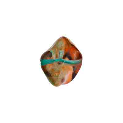 GLASS BEAD FANCY 11x15mm STRUNG ORANGE/TEAL GREEN image