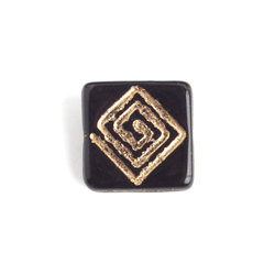 GLASS BEAD FLAT SQUARE 15mm STRG W/CENTRE DRILL BLACK/GOLD image