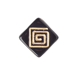 GLASS BEAD FLAT SQUARE 15mm STRG W/TOP DRILL BLACK/GOLD image