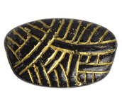 GLASS BEAD IRREGULAR OVAL 33x20mm JET/GOLD PAINTED image