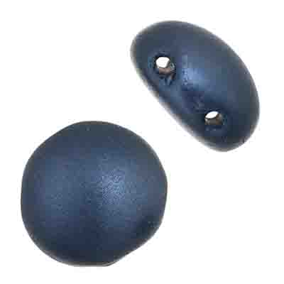 Czech Candy Beads 8mm 2 holes Navy Blue Pearl Pastel image