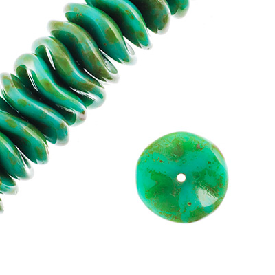 Czech Preciosa Ripple Beads Turquoise Opaque Travertine image