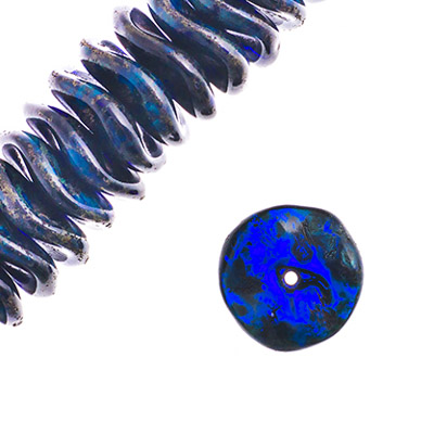 Czech Preciosa Ripple Beads Dark Blue Tr. Travertine image