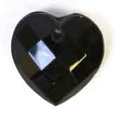 GLASS BEAD BRIOLETTES 10x10mm HEART SHAPE JET image