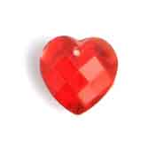 GLASS BEAD BRIOLETTES 10x10mm HEART SHAPE SIAM RUBY image