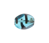 Glass 15x11mm Twisted Oval Transparent Light Blue Striped image