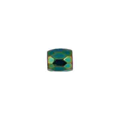 GLASS BEAD ORNELA CUT 7/7mm GREEN/AB image