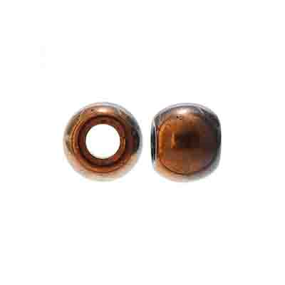 GLASS CROWBEAD 12mm/5mm Hole Copper/Jet image