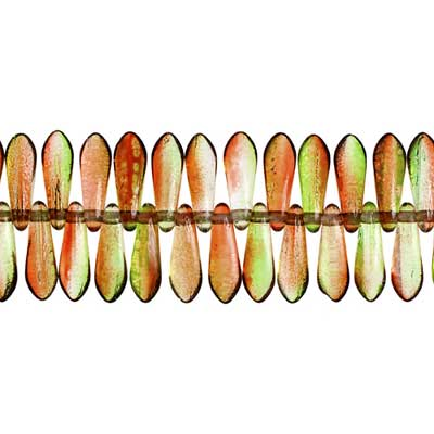 GLASS 3x11mm DAGGER RED/APPLE GREEN STRUNG BEADS image