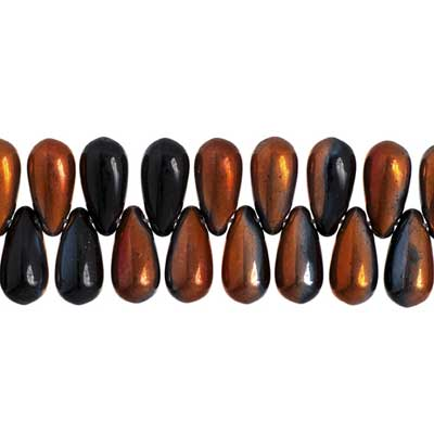 GLASS BEAD DROPLET 5x10mm JET COPPER COATED STRUNG image