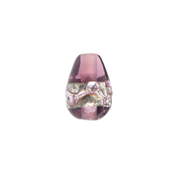 GLASS LAMP BEAD DROP 12x8MM SILVER/AMETHYST image