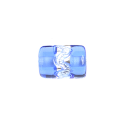 GLASS LAMP BEAD TUBE 12x8MM SILVER/SAPPHIRE image