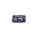 GLASS BEAD CYLINDER 13x8MM STRUNG TINTED COBALT/GOLD image