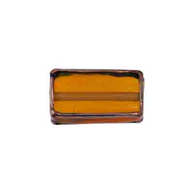 GLASS LAMP BEAD RECTANGLE 18x10x6MM TOPAZ/BRONZE image